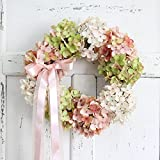 Etbotu Simulate Hydrangea Wreath Hanging Pendant,Decorative Garland for Festival Wedding Party