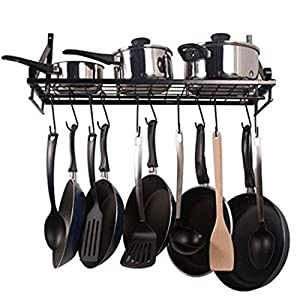 Wall Pot Rack Wall Pan Hanger Kitchen Pan Organizer 24 inch, Black
