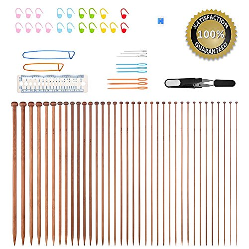Main Needle Set (Knitting Needles,BCMrun 36PCS 35CM(13.78in) Bamboo Knitting Needles 18 Sizes from 2.0mm to 10.0mm with 34PCS Accessories)