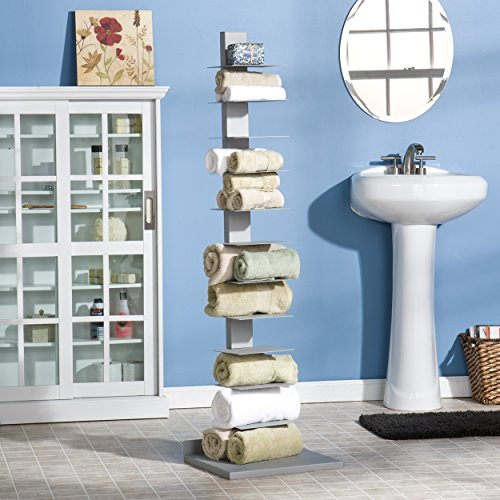 Southern Enterprises Spine Book Tower - Metal Floor Shelves, Silver by Southern Enterprises (Image #5)