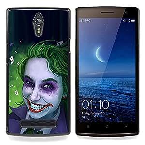 """Qstar Arte & diseño plástico duro Fundas Cover Cubre Hard Case Cover para OPPO Find 7 X9077 X9007 (Zombie Art Blue Eyes espeluznante sonrisa verde"""")"""