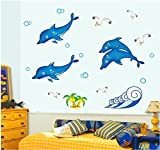 Dolphin Jump Ocean Waterproof Wall Decals Removable PVC DIY Wall Stickers Animal Decorations For Nursery Kids Room Living Room