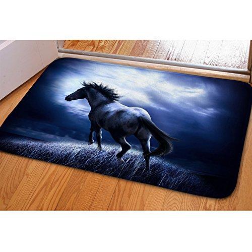(HUGS IDEA Horse Pattern Floor Mat Rug Indoor Outdoor Soft Area Rugs Entry Way Doormat for Kitchen Dining Living Hallway Bathroom)