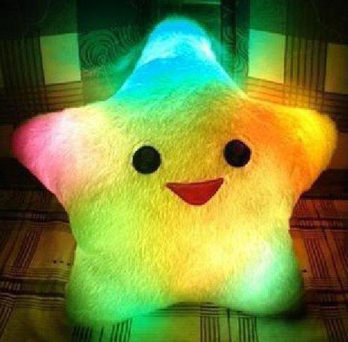 Mirah June Glowing Colorful Luminous LED Light Plush Pillow Stuffed Toys White (Pillows That Light Up)