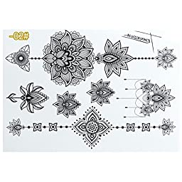 Youngman Henna Temporary Tattoo,Set of 16 Designs Sheets