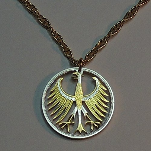German Silver 5 Mark Eagle - Beautifully Hand Cut out & 2-toned(Uniquely Hand done) Gold on Silver coin Necklaces for women men girls girlfriend boys teen girls (Out Cut Pendant Eagle)