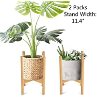 Nafurno Plant Stand Mid Bamboo Flower Pot Holder with Detachable Rubber Foot Cover