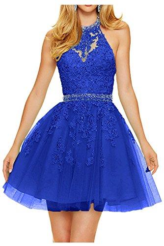 Royal Cocktailkleider Blau Abendkleider Partykleider Promkleider Neckholder La Mini Braut Anmutig Kurz Spitze Damen Marie OSSawq07