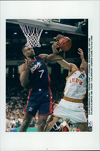 Vintage photo of OS Basketball: David Robinson (USA) against Georgia Dome (Lithuania)