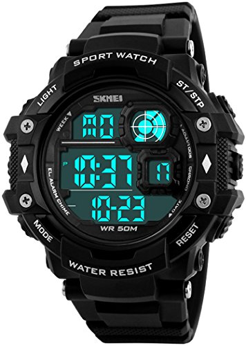 Fanmis Military Sports Analog Digital Multifunction Alarm Dual Time Waterproof Men's LED Watch Black (Black) ()
