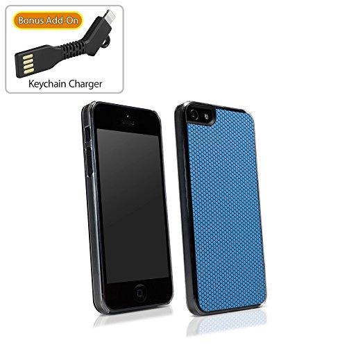 Coque Iphone se, BoxWave® [GeckoGrip Coque avec chargeur Porte-clés Bonus] Low Profile pour Apple iPhone avec arrière en caoutchouc texturé pour lisse se, 5S, 5–Bleu