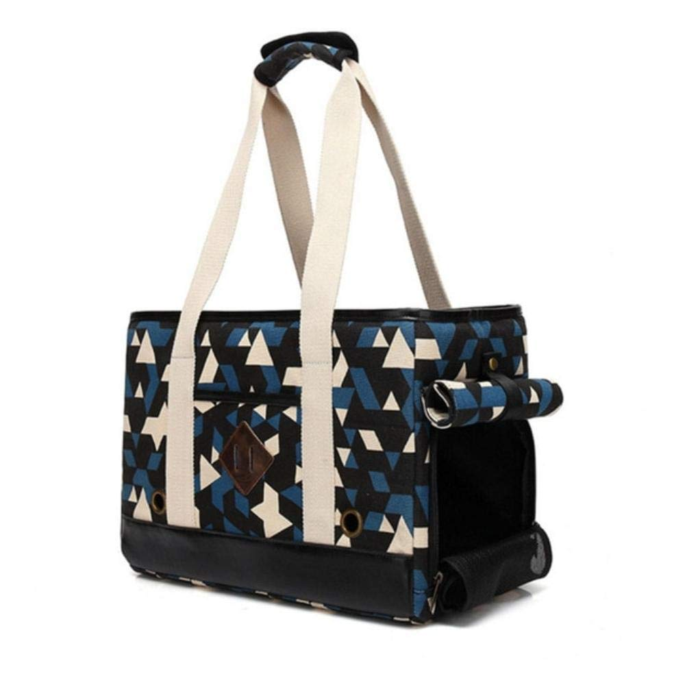 PomPomHome Dog Carrier Purse Small Dog and Cat Pet Travel Carrier Handbag Fashion Canvas Designer Pet Tote Foldable Dog Carrier for Walking (41x18x28cm,Navy Geometric)
