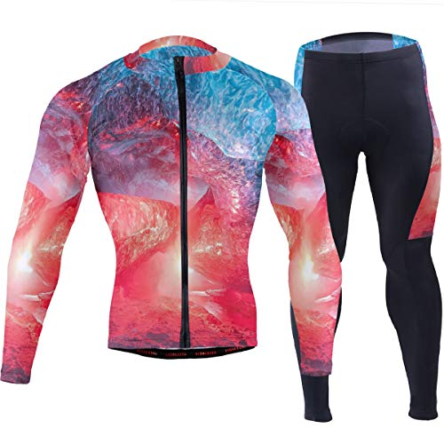 MALPLENA Blue and Red Natural Cave Men's Soft Long Sleeve Breathable Bicycle Cycling Jersey Clothing -