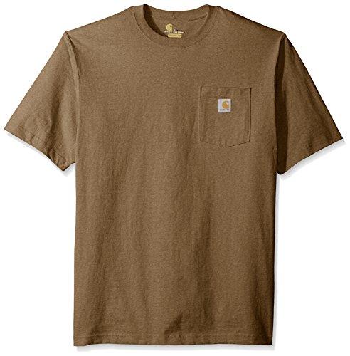 Carhartt Men's Big and Tall Workwear Pocket Short Sleeve T-Shirt Original Fit K87, Barrel Heather, Large -