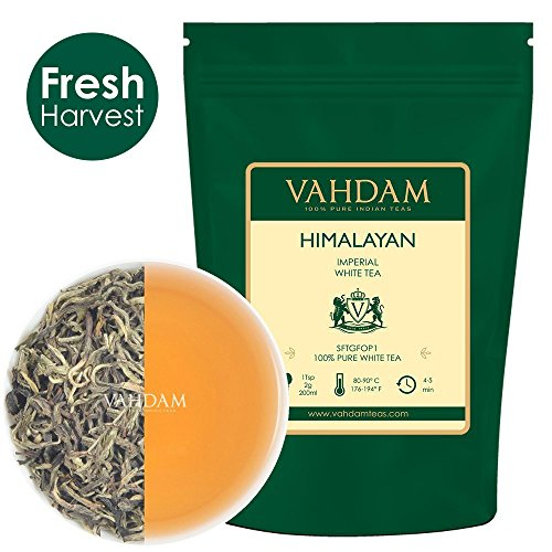 VAHDAM, Imperial White Tea Leaves from Himalayas (25 Cups), World's Healthiest Tea Type, Powerful Anti-Oxidants, Floral & Delicious, 1.76oz
