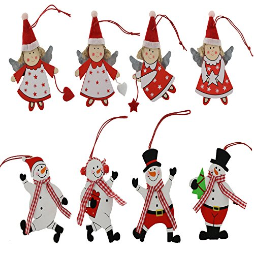 WEWILL 3.5-Inch Wooden Christmas Ornaments Snowman ans Angel Tree Hanging Decoration 8PCS