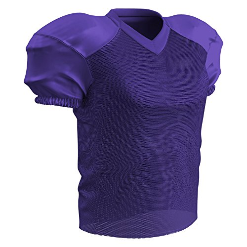 CHAMPRO Adult Stretch Polyester Practice Football Jersey, Purple, (Purple Mens Football Jersey)
