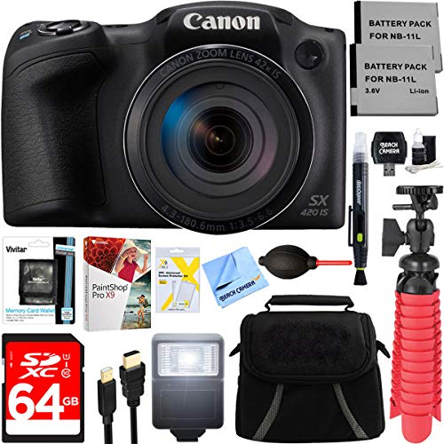 Canon PowerShot SX420 IS 20MP 42x Optical Zoom Digital Camera (Black) + Two-Pack NB-11L Spare Batteries + Accessory Bundle ()