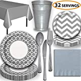 Disposable Tableware, 32 Sets - Silver and Silver - Quatrefoil Dinner Plates, Chevron Dessert Plates, Cups, Lunch Napkins, Cutlery, and Tablecloths: Premium Quality Party Supplies Set