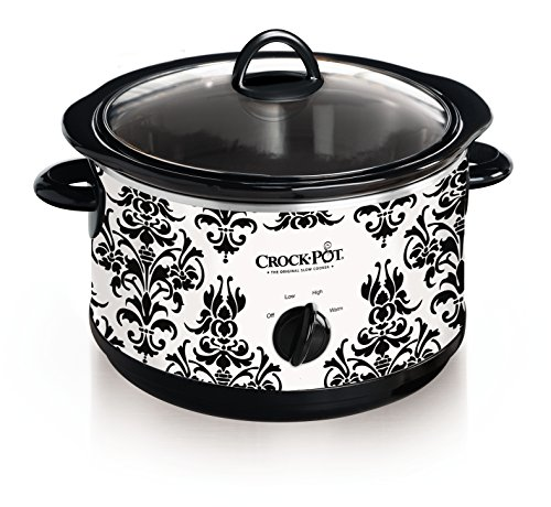 Crock Pot 4-1/2-Quart Slow Cooker, Black Demask Pattern (SCR450-PT)