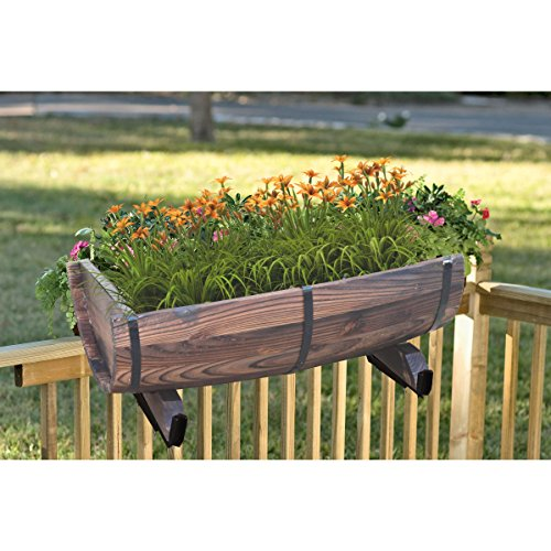 Quickway Imports Half Barrel Brown Wood Adjustable Deck Railing Planter Half Barrel Adjustable Deck Railing Planter 16'' by Quickway Imports