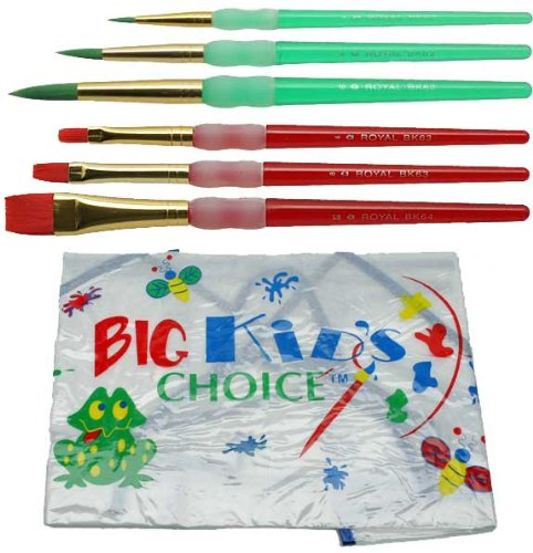 Royal Brush 405892 Big Kids Choice Paint Brush and Apron Combo Pack, Assorted Sizes from ROYAL BRUSH