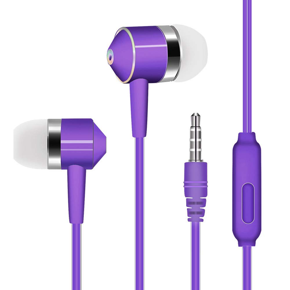 Chenway Over-Ear Gaming Headphones,Wired Piston Dual-Driver Headsets Built-in Mic,3.5mm Connector for iPhone 6/6 Plus, for Samsung S5, S4, for LG, for Xiaomi, for iPad, PC, Laptop, Tablet (Purple)