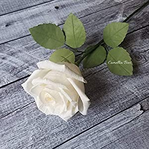 White Paper Rose Handmade Realistic Artificial Rose from Crepe Paper Perfect Paper Gift for Christmas,Wedding Anniversary, Valentine's Day, Mother's Days, Single Long Stem, 01 Flower 4
