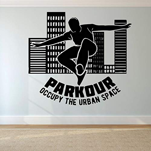 outsidetheboxdecor Parkour Logo Wall Sticker Free Running Wall Decal Tracers Jump Sports Wall Poster Teen Boys Gift Extreme Sport Wall Mural AY1630 (Best Parkour And Freerunning 2019)