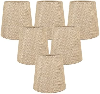 Meriville Set of 6 Natural Burlap Clip On Chandelier Lamp Shades, 3.5-inch by 4.5-inch by 4.5-inch