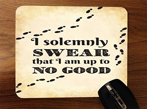 - I Solemnly Swear I Am Up To No Good Quote Design Print Image Artwork Desktop Office Silicone Mouse Pad by Trendy Accessories