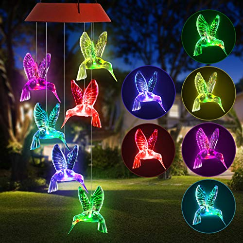 (PATHONOR LED Hummingbird Solar Wind Chime, Changing Color Solar Six Hummingbird Wind Chime Solar Mobile Wind Chime Outdoor Mobile Hanging Patio Light for Valentines Gift Home Party (Hummingbird) )