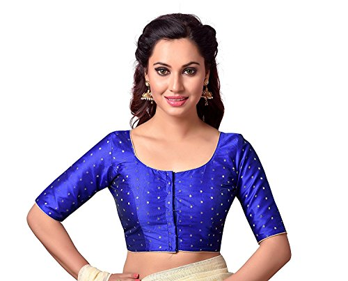 HIRAL DESIGNER Choli Top & Saree Blouse Readymade Indian Silk & All Sari Color Matching Blouse for Women Choli (Blue, 36-M)