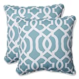 Pillow Perfect Outdoor New Geo Throw Pillow, 18.5-Inch, Aqua, Set of 2