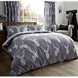 Vintage Stag Head Duvet Quilt Cover Deer Antlers Double Bedding Set Silver Grey by GC