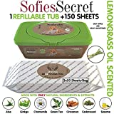 SofiesSecret Pet Wipes for Dogs+Cats, 150XL Wipes, Lemongrass Oil Scent, All in ONE Grooming, 100% Natural Oils & Extracts, Extra Thick, Ultra Soft, Extra Large, Cruelty Free & Vegan