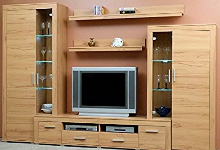 0-0-9-1537: made in Germany-Wall Cabinet-Beechwood dek.-TV Wall ...