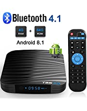 Sidiwen Android 8.1 TV Box T95X2 4GB 64GB Amlogic S905X2 Quad Core Reproductor multimedia inteligente Soporte 3D 4K Ultra HD H.265 Dual WIFI 2.4G/5G Bluetooth 4.1 Ethernet USB 3.0 Internet Set-top box
