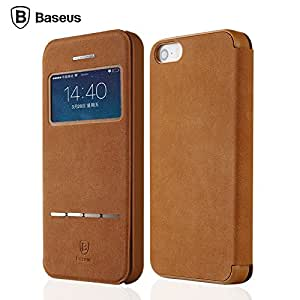 Baseus High Quality Leather View Smart Case For iphone 5 5s Business Back Cover Cases For iPhone5s Fashion With Retail Package --- Color:Yellow