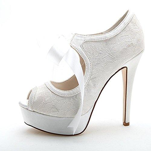 white Toe des Elobaby Satin Chaussures Ronde Talons Hauts Mariée 15 F3128 de Femmes Mariage Peep Cravate toesRibbon Mariage xw1TwqFRYK