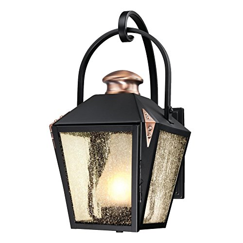 Westinghouse Lighting 6312300 Valley Forge One-Light Outdoor Wall Lantern, Matte Black Finish with Copper Accents and Frosted Chimney in Clear Seeded Glass, ()