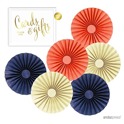 Navy nautical wedding supplies amazon andaz press rosette pinwheels hanging paper decor trio kit with free gold party sign ivory navy blue coral 10 inch 6 pack for nautical baby bridal junglespirit Choice Image