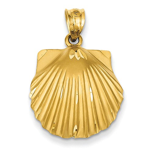 Pendants Beach and Sea Life Charms 14K Yellow Gold Seashell Charm Pendant