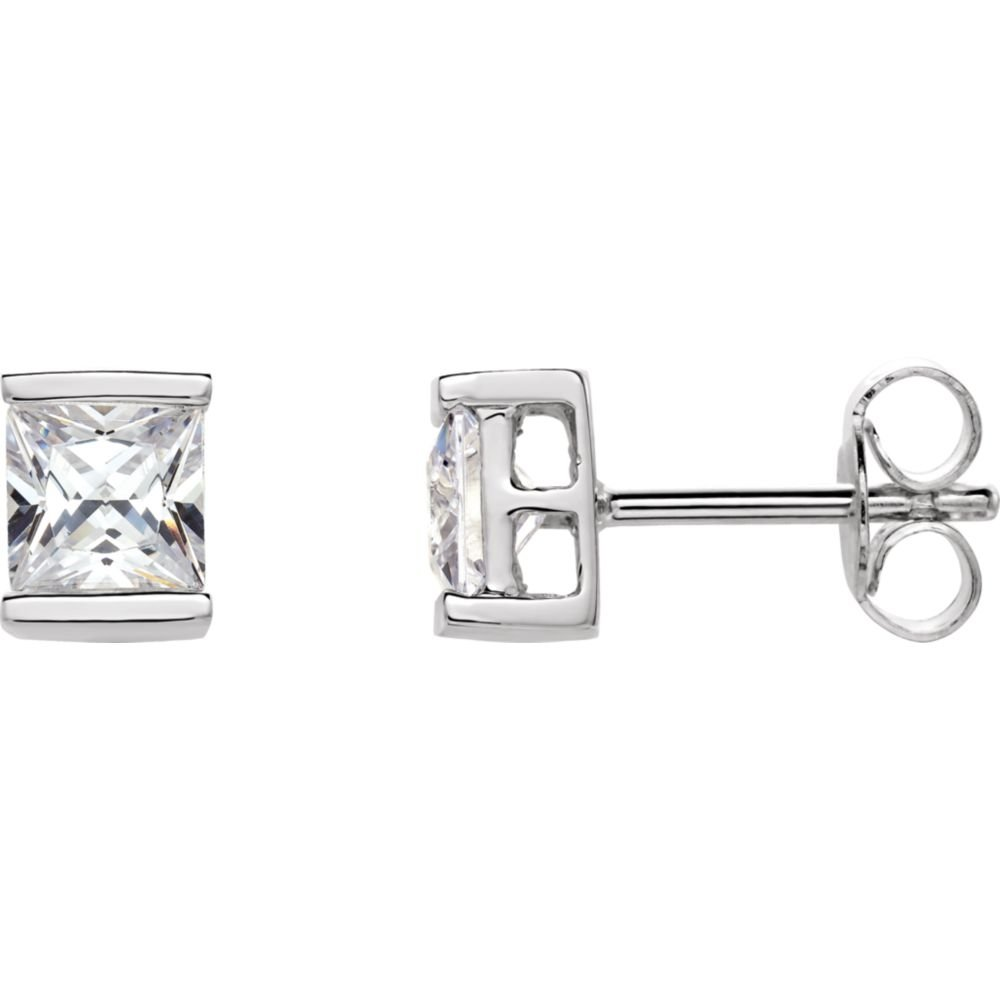 FB Jewels 925 Sterling Silver Pair 05.00X05.00 mm Polished Cubic Zirconia Earring