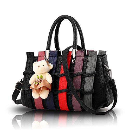 la di colore con borsa borsa dell'orso di tessuta colpo spalla messaggero del modo della Borsa Nero della Tisdaini 6xwq8PZO