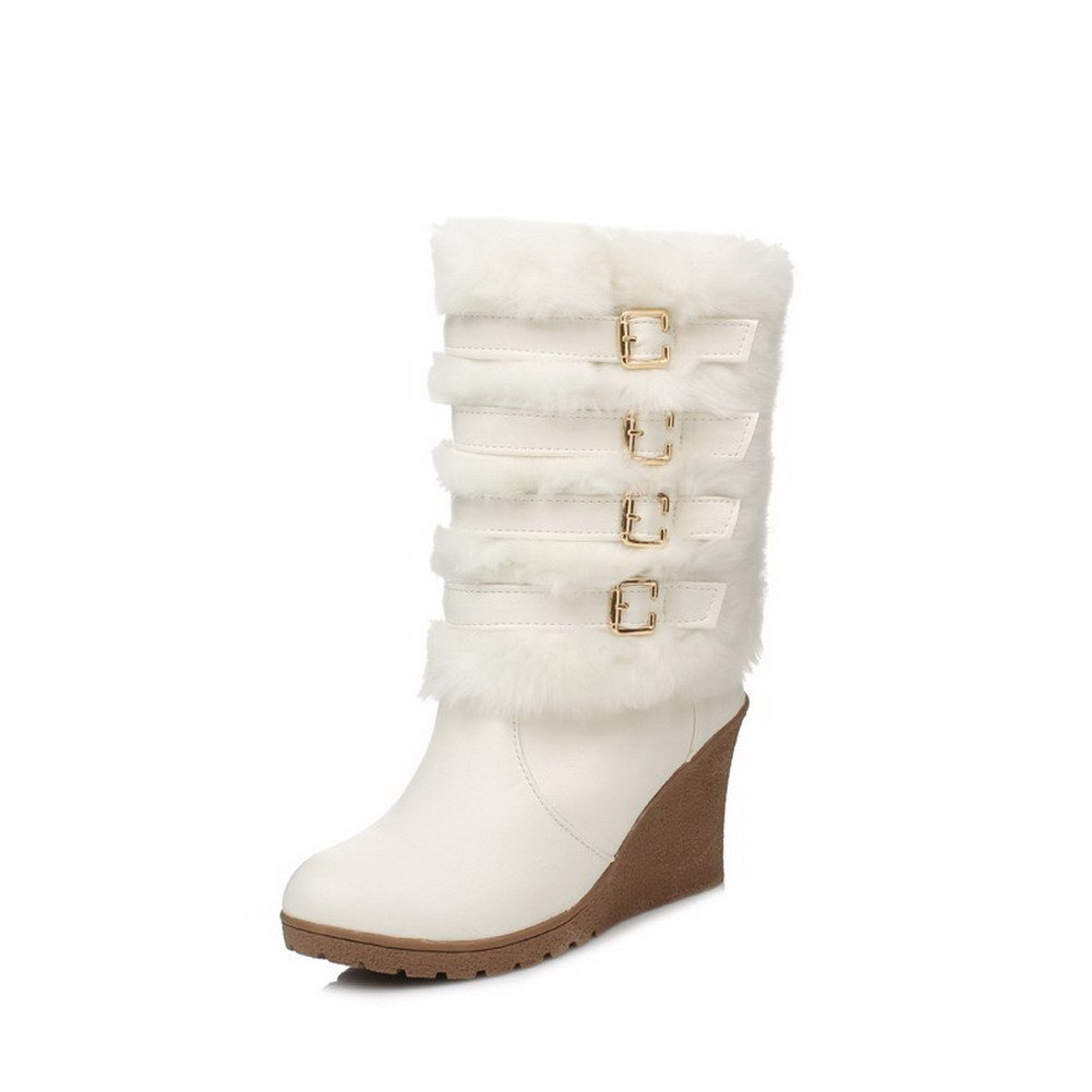 WeiPoot Women's High-Heels Closed Round Toe Soft Material Low-top Boots, White, 39