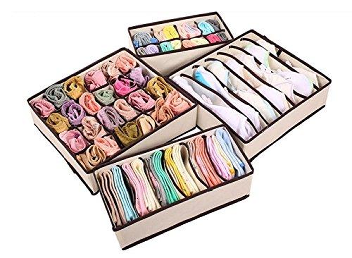 4 PCS Beige Home Storage Supply Storage Box Ties Socks Shorts Bra Underwear Storage Bins Cube Divider Closet Organizer (ฺฺBeige)