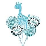 Sweet Safari BABY BOY 5 Balloon Bouquet Kit w/Ribbons – Baby Shower, Health Care Stuffs