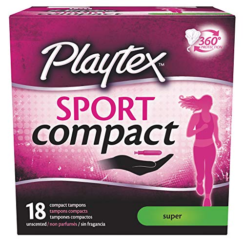 Playtex Sport Super Absorbency Compact Tampons with Flex-Fit Technology and Improved Applicator, 18 Count