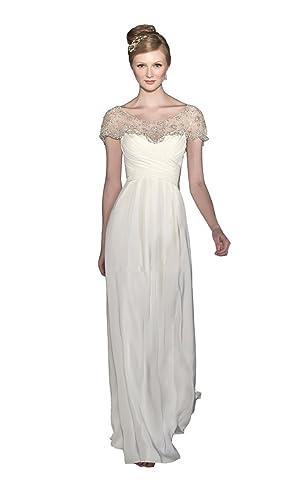 Irenwedding Women's Scoop Neck Short Sleeve Ruched Bust Chiffon Wedding Dress